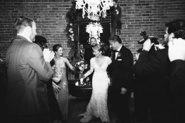 bride and groom exit carondelet house wedding
