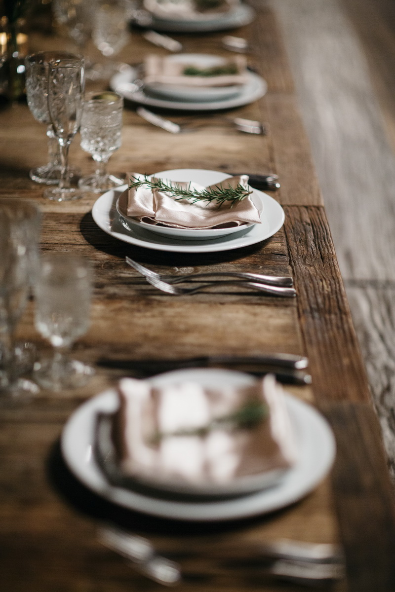 carondelet wedding reception room farm table details