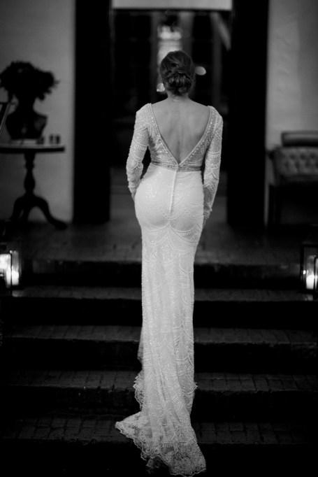 carondelet house wedding bride on stairs