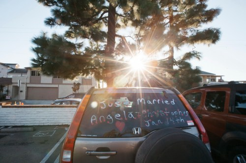 sherman gardens wedding corona del mar just married car
