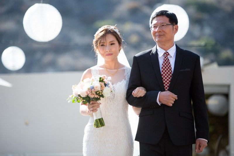 seven degrees wedding laguna beach photographer nicole caldwell bride walking down aisle