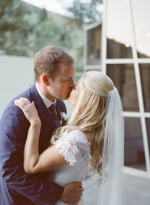 seven degrees wedding photographer nicole caldwell who uses film cinestill wedding couple just married