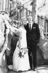 bride and groom in bamboo garden laguna beach wedding venue seven degrees photographer nicole caldwell
