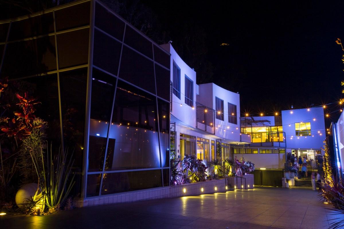 exterior at night laguna beach wedding venue seven degrees photographer nicole caldwell