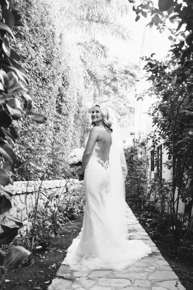 bride in garden wedding bel air bay club wedding palos verdes