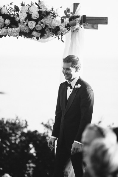 groom at altar wedding ceremony bel air bay club wedding palos verdes
