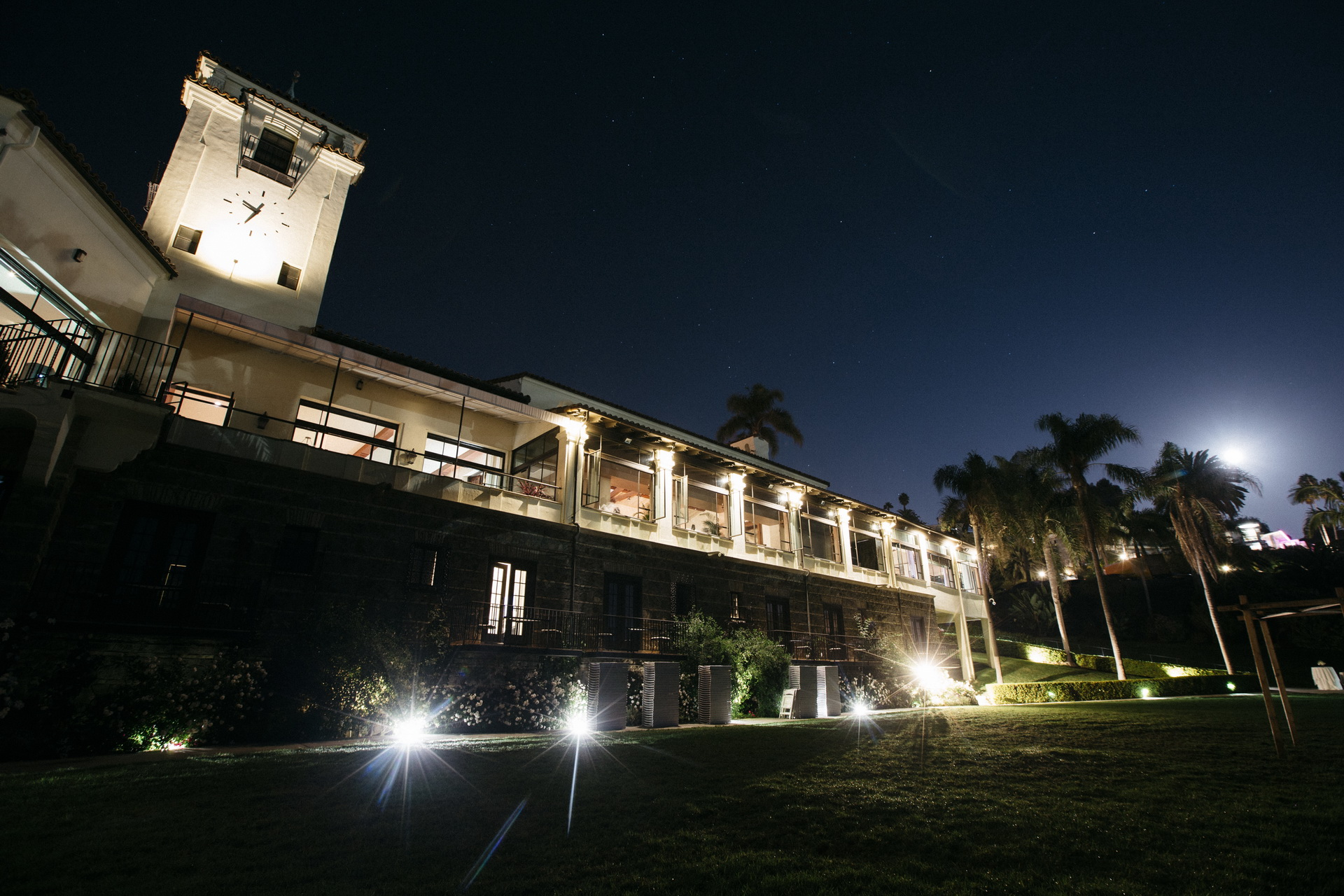 exterior of bel air bay club wedding at night