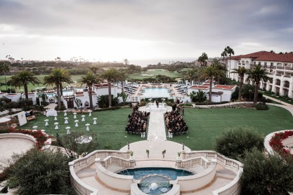 wedding ceremony top view Monarch beach resort wedding photographer nicole caldwell