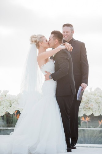 first kiss wedding ceremony Monarch beach resort wedding photographer nicole caldwell