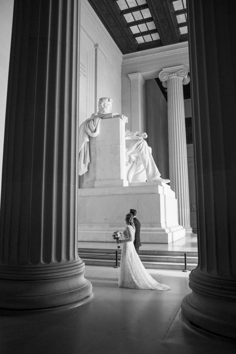 bride and groom walking lincol memerial washington dc wedding and elopement by nicole caldwell