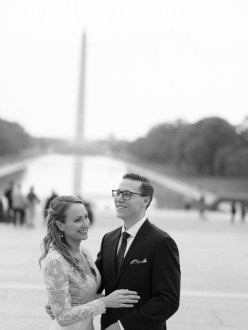 bride and groom lincoln memorial reflection pool washington dc wedding and elopement by nicole caldwell