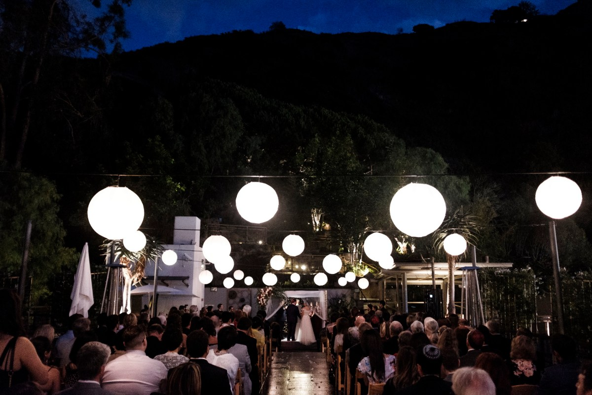 ceremony at night seven degrees wedding photographer laguna beach