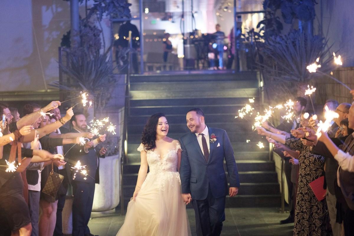 brde and groom sparkler sendoff farewell seven degrees wedding photographer laguna beach