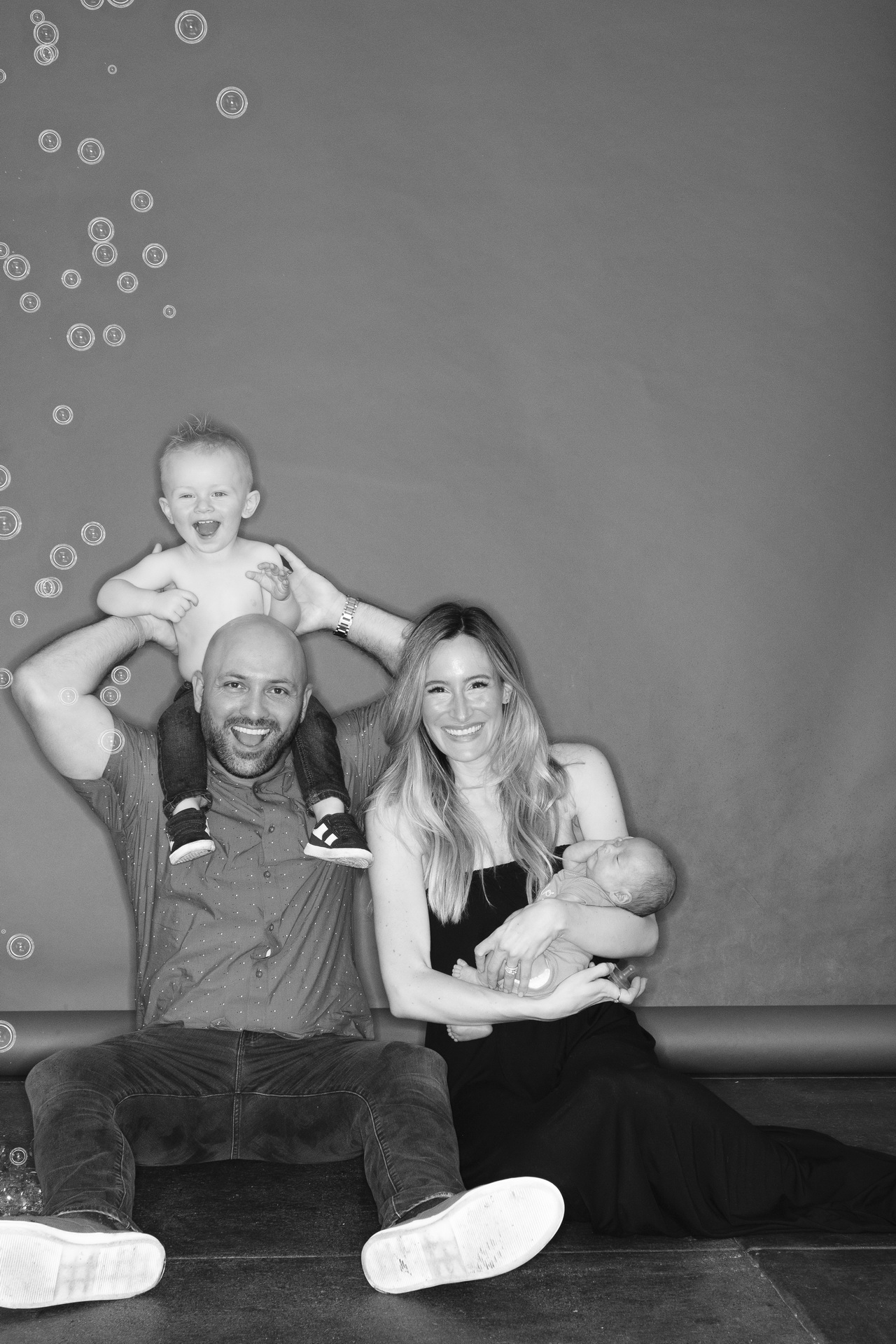 Family fun in the studio celebrating baby brother, and of course bubbles