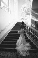 wedding bride on stairs ritz carlton laguna niguel