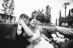 old town orange wedding photographer circle couple in mustang