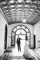 vibiana wedding los angeles bride and groom in window