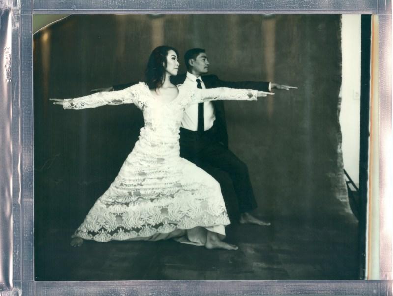 Yoga Couple  Wedding photo Shoot with Impossible 8 x 10 Polaroid film  Nicole Caldwell