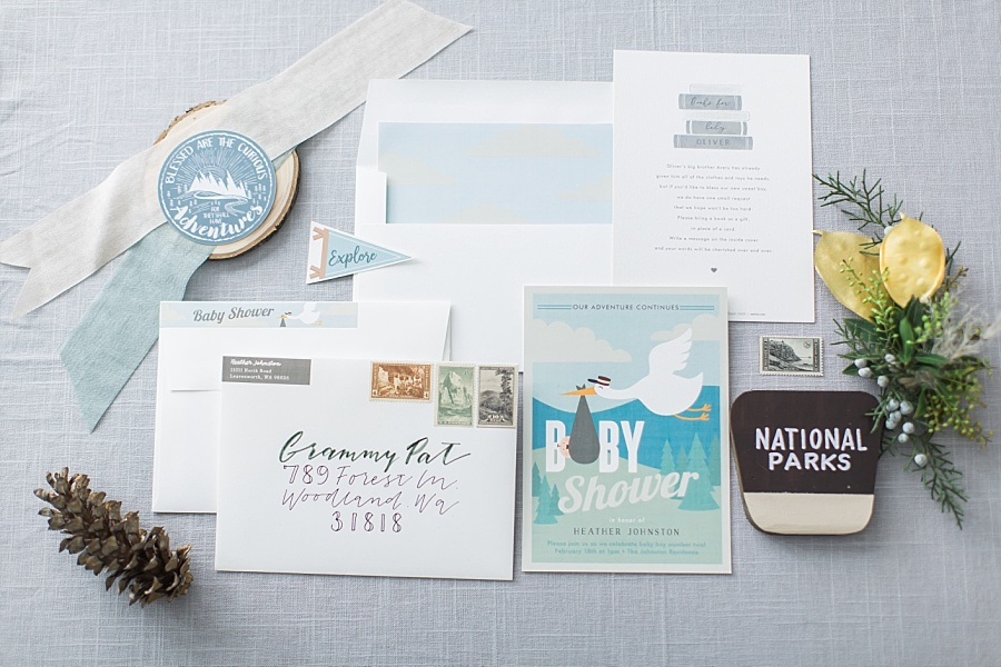 National Parks baby shower invitation styling