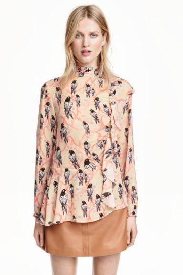 H&M - blusa con volantes estampada