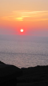 Sunset from our hotel, overlooking Tintagel Castle