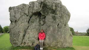 "Me sitting on the ""high priestess' seat"" at Avebury."