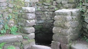 The baptistery where the spring surfaces at Madron. Until the 18th century, it was the only source of water for Madron and Penzence.