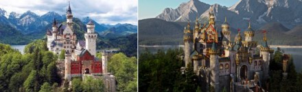 Were they even trying? Neuschwanstein castle on the left, OUTA's Camelot on the right.