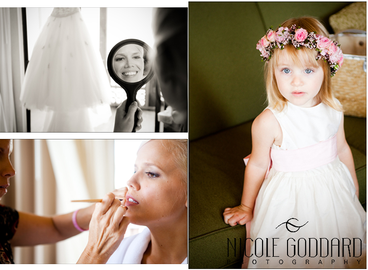 The flower girl was patiently waiting for her turn.