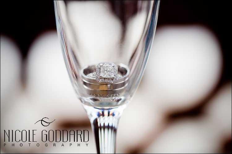 Champagne flute + wedding rings