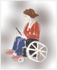 woman in wheelchair with iPad