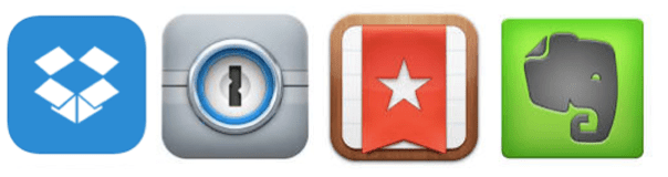 Dropbox, 1Password, Wunderlist, Evernote