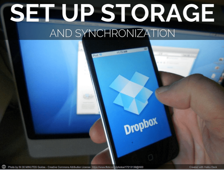 set up storage and synchronization