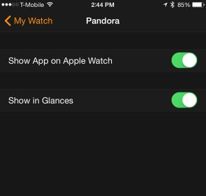 Pandora: Show app on Apple Watch, show in Glances