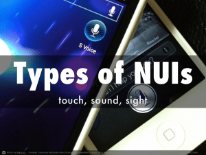 Types of NUIs: touch, sound, sight