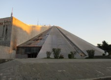 this pyramid is a famous communist monument, visited by many, but equally hated. It is in very poor shape, and its future is uncertain
