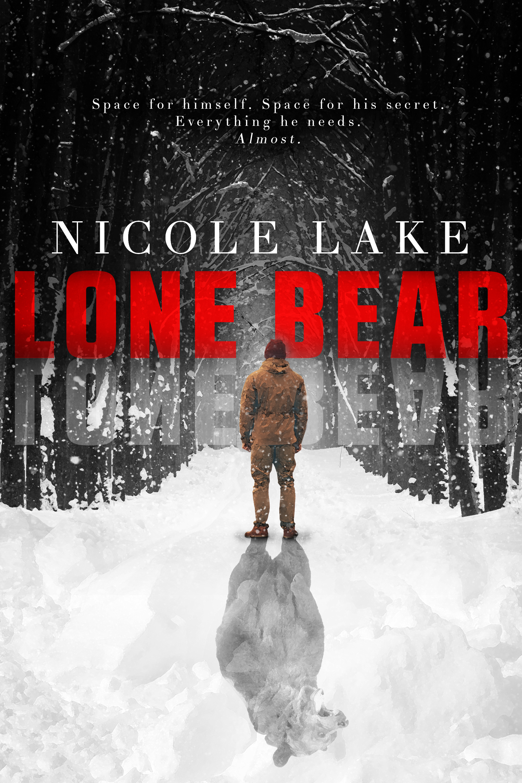 "Lone Bear cover: A man bundled for cold weather stares into a wintry forest. Behind him, his shadow forms the image of a bear. Above the man's head is the book cover, ""Lone Bear"", the author's name, Nicole Lake, and the tag line ""Space for himself. Space for his secret. Everything he needs. Almost."""