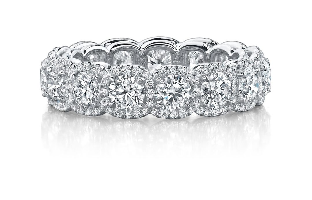 Cushion Halo Diamond Eternity Band Nicole Mera