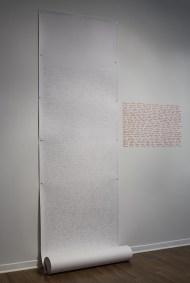 Nicole Panneton - Espace intime - Liste de phrases et mots - Projet Des mailles et des mots - 2015 - Crédit photographique Michel Dubreuil