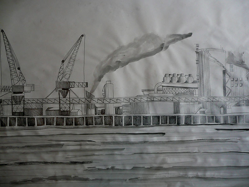 Melbourne docklands before development pencil on paper