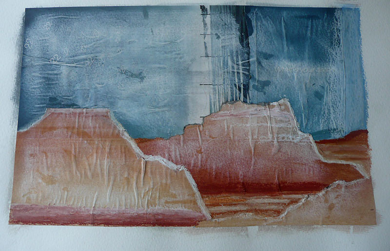 Lunette, Mungo National park, Collage in red earth and blue sky colours