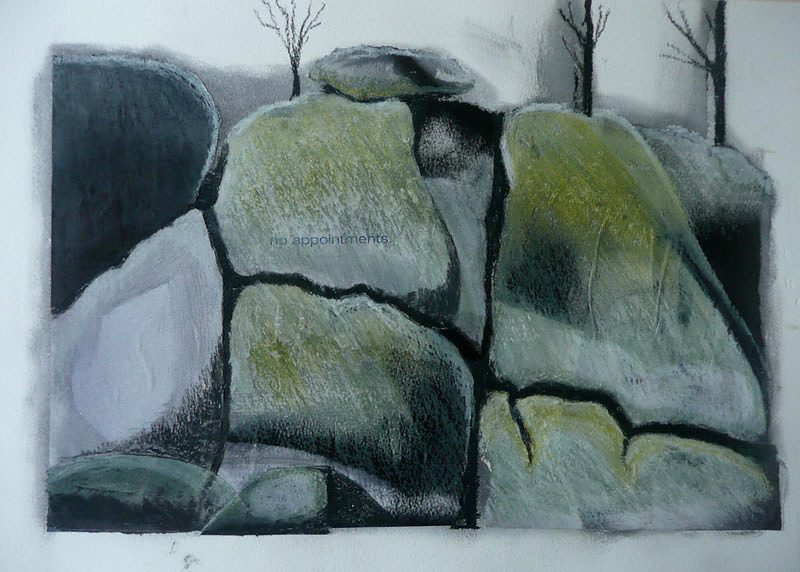 Mt Buffalo after fire, collage of glossy paper and oil pastel of rocks in muted black and white with yellow