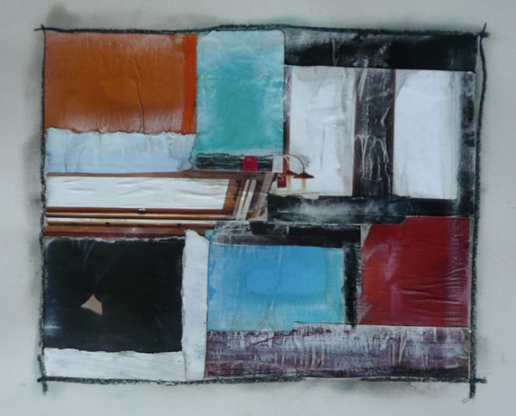 Stairs series collage on paper, abstract squares and stairs in various muted colours