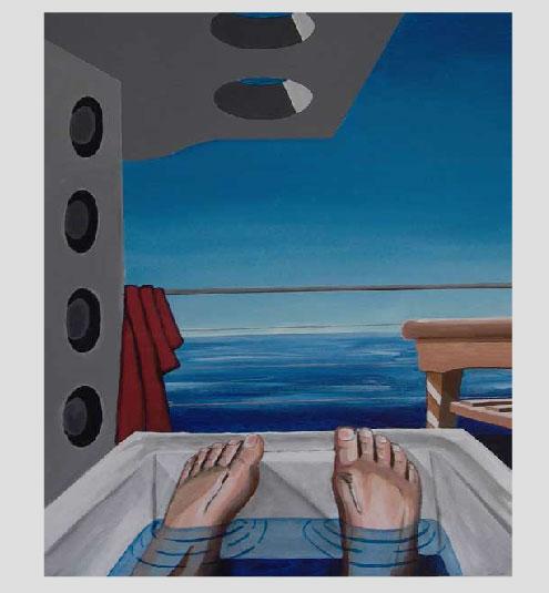 Esalen, California bathing, acrylic on canvas
