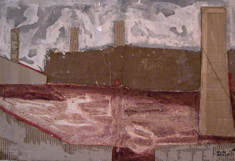 Plaster collage, hessian and cardboard