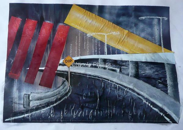Collage, glossy magazine paper and oil pastel on paper of Melbourne's Citylink freeway