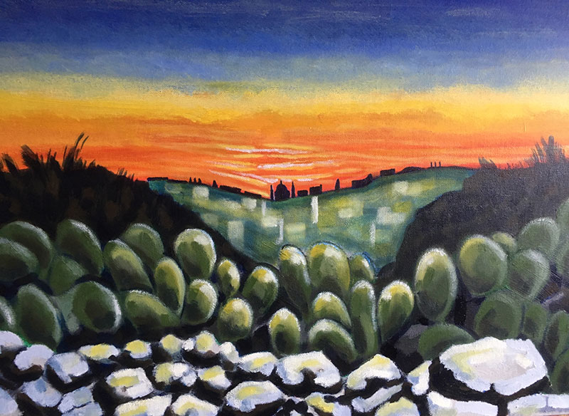 Malta, prickly pear at sunset, acrylic on canvas, 2019