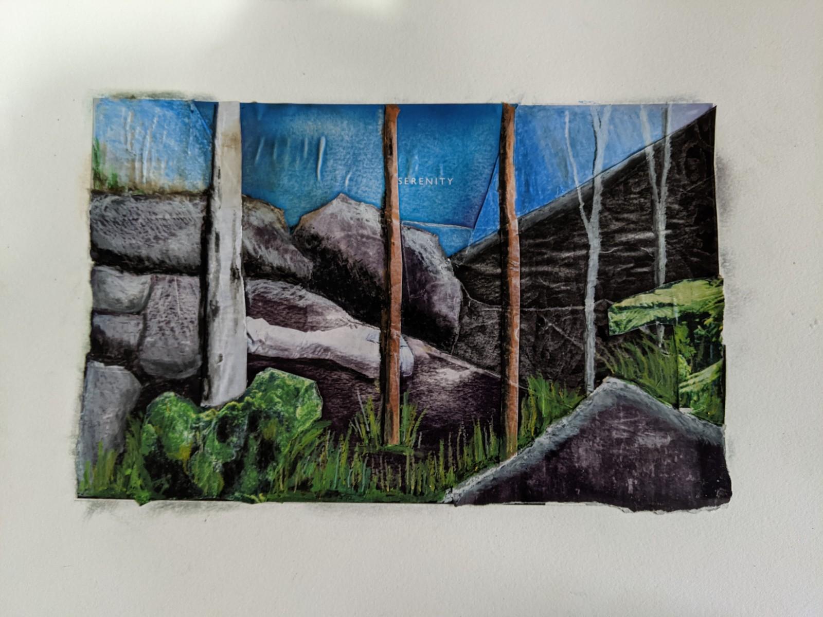 Collage of rocks and trees, Carnarvon Gorge National Park, Queensland