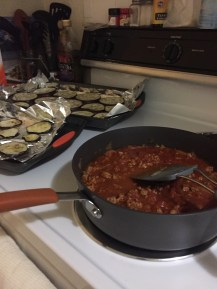 lasagna makings. meat sauce and baked eggplant!