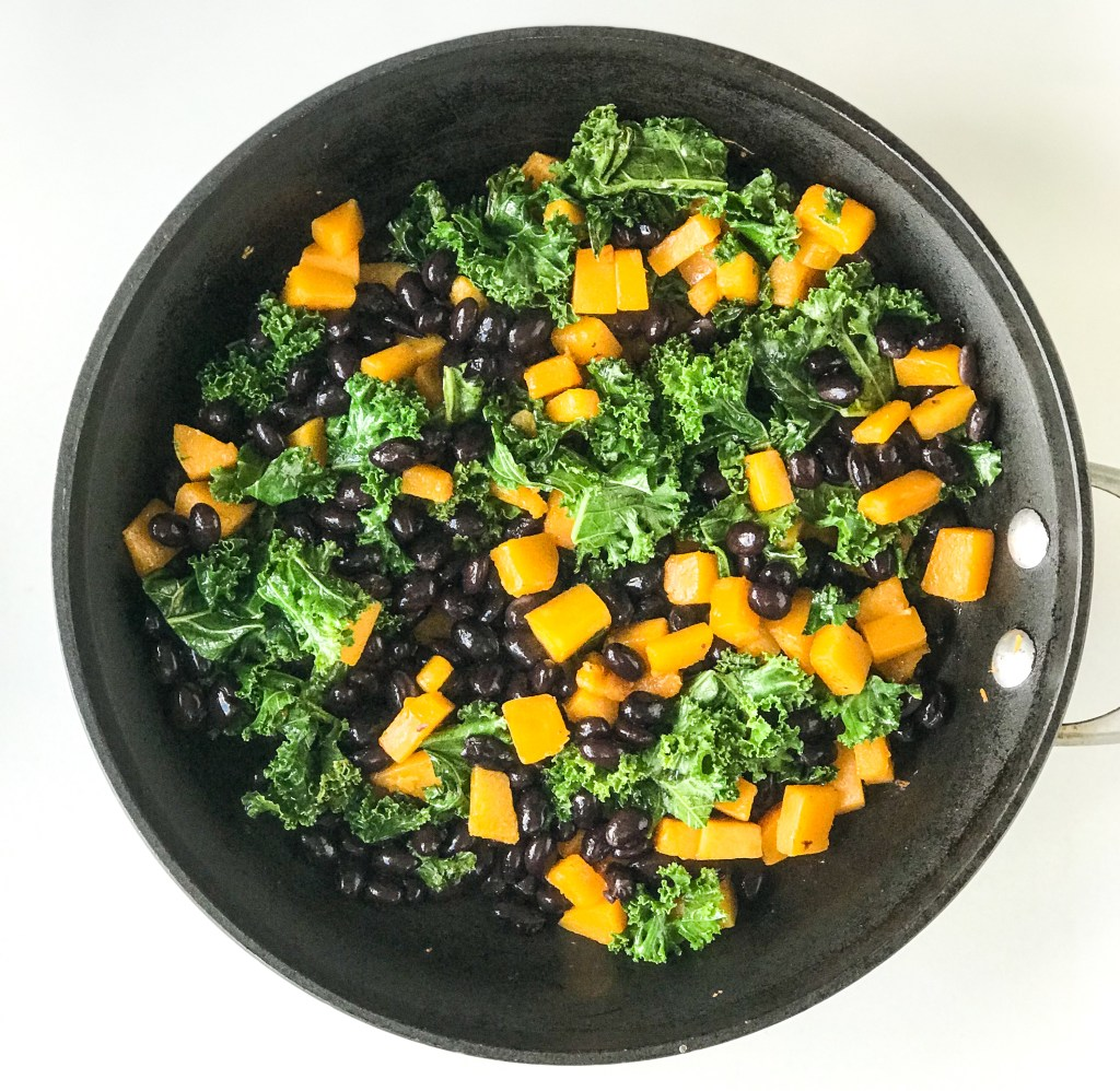 Quick Butternut Squash, Kale & Black Bean Quesadilla